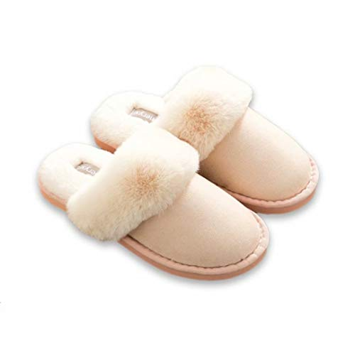 on Fur Scuff Clog Lining Real JOINFREE Slippers amp; Slip House Shoes Pink Outdoor Indoor Light EfHqEXw