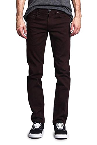 Victorious Men's Skinny Fit Color Stretch Jeans DL937 - Brown - -