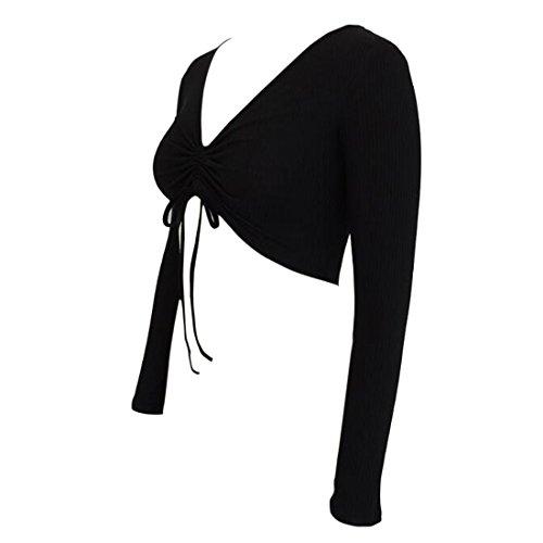 Manches Drawstring Mode Femmes Crop Neck À Côtelé V Deep Longues Noir Top Chemise Tricot 4WY4rP