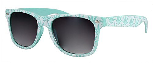 White and Mint Green Pot Leaf - Leaf Sunglasses Pot