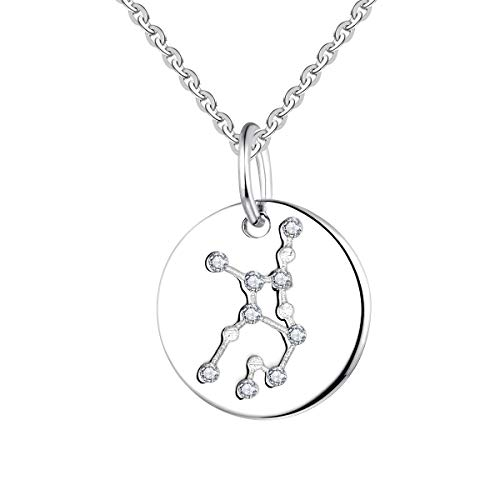 YL Women's Virgo Constellation Necklace Sterling Silver Zodiac Jewelry Astrology Coin Horoscope Pendant (Justice Gold Plated)