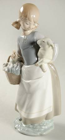"Lladro ""Girl with Lamb"" Collectible Figurine #04835 Retired Glazed Finish"