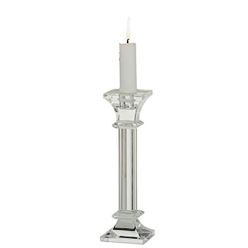 WHW Whole House Worlds White Nights Candle Stick Holder, Crystal Clear Quality Glass, 8 Inches Tall, Square Base, for Standard Taper Candles