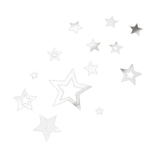 - 13pcs/Set 3D Stars Mirror Wall Stickers DIY Acrylic Mirrored Decals Removable Home Decoration Wallpaper Omkuwl