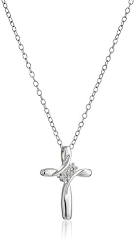 Sterling Silver Diamond Accent 2-Stone Cross Pendant Necklace