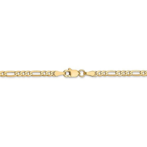 (2.75 mm 14k Yellow Gold Flat Figaro Chain Ankle Bracelet - 10 Inch)
