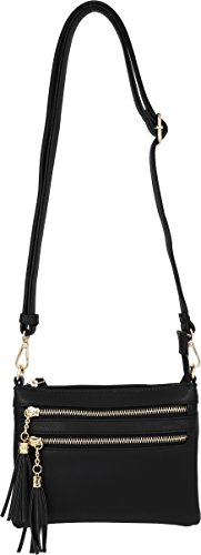 Handbag with Accents Zipper Mini Black Multi Tassel Crossbody Purse qSnBSt67w