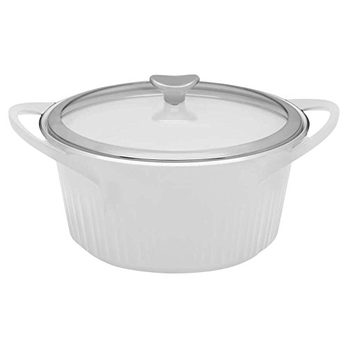 CorningWare Cast Aluminum Dutch Oven with Dual Handles and Glass Cover, 5 1/2-Quart, White
