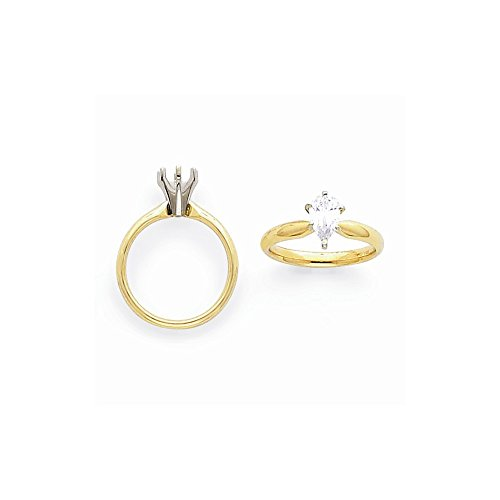 14k Two-tone 2ct. Tulip Head Comfort-fit Pear Solitaire Semi-Mounting, No Center Stone Included
