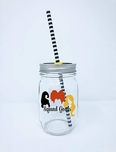 Squad Goals Halloween Glass Mason Jar Tumbler with