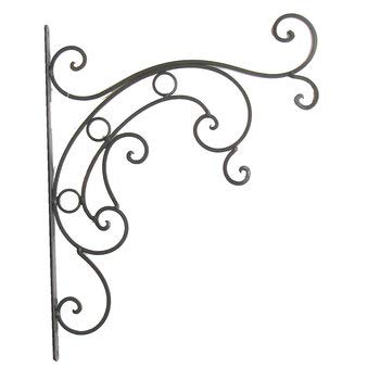 Aunt Chris' Products - All Metal - 15 Inch Large All-purpose Hanger - Primitive With Swirls And Curls - Design From The Western Days - (Matte Black Finish - Use Indoor or Outdoor)