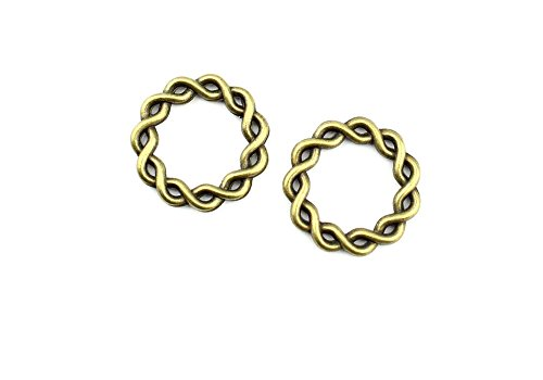 (Price per 310 Pieces Jewelry Making Charms LZPL0 Twisted Circle Pendant Ancient Bronze Findings Craft Supplies Bulk Lots)