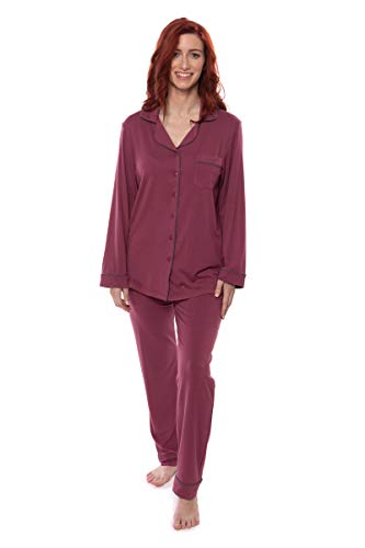 Texere Women's Button-Up Long Sleeve PJs (Classicomfort, Garnet, LT) Valentines Gifts for Her -