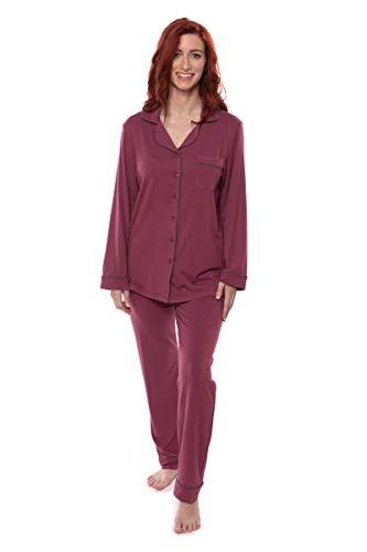 Texere Women's Button-Up Long Sleeve PJs (Classicomfort, Garnet, M) Best