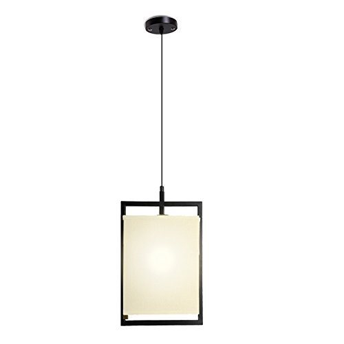 Veesee Modern Pendant Light Fixture with Natural Linen Cloth Lampshade,Black Finish Metal Cube Construction,E27 Chandelier Hanging Ceiling Top Lighting for Dining Living Room Bedroom Kitchen Island - Light Chandelier Black Lacquer