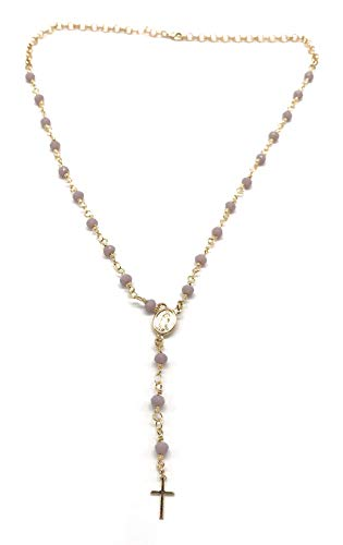 LESLIE BOULES Rosary Lilac Beads Catholic Cross Necklace 16