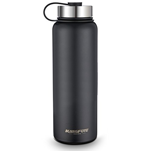 KANGFUTE 18/8 Stainless Steel Water Bottle, Wide Mouth Double Walled Vacuum Insulated Thermo Flask, BPA Free with Leak Proof Lid, Keeps Drinks Hot for 24 Hours, Cold for 12 Hours Matte Black 38oz by KANGFUTE