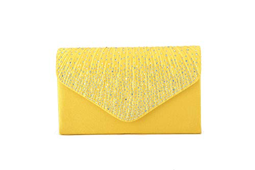 Nodykka Women Evening Envelope Rhinestone Frosted Handbag Party Bridal Clutch Purse Shoulder Cross Body - Bridal Satin Clutch