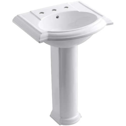 """85%OFF KOHLER K-2286-8-0 Devonshire Pedestal Bathroom Sink with 8"""" Centers, White"""