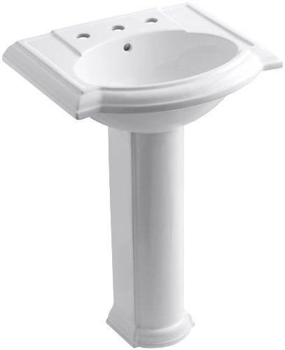 KOHLER K-2286-8-0 Devonshire Pedestal Bathroom Sink with 8