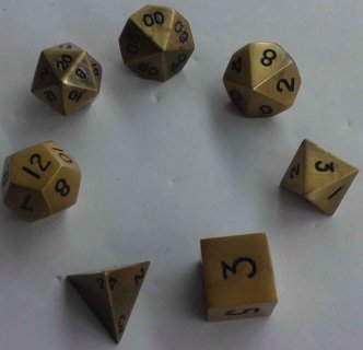 Metal Dice Polyhedral Set of 7 die (7) Antique Gold Metallic Dice Games