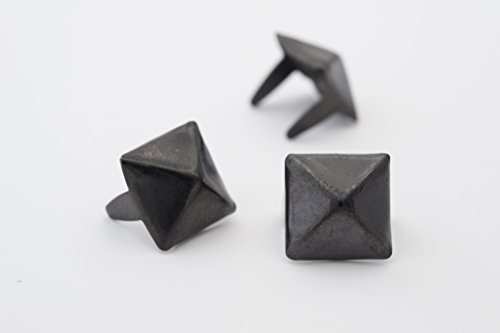 Pyramid Studs - Size 10 - Ideally used for Denim and Leather Work - Classic Two-Prong Studs - Black Colored - Pack of 100 studs and spikes ()