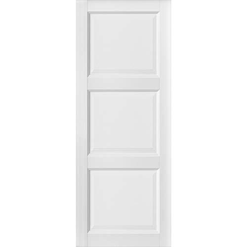 Slab Barn Door Panel 28 x 80 inches | Lucia 2661 Matte White | Sturdy Finished Doors | Pocket Closet Sliding