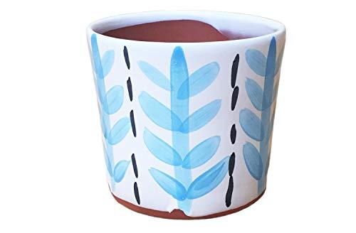 Reed Cache Pot: Leaf Pattern, Robins Egg Blue. Medium Terracotta Planter