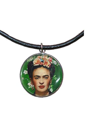 (Stainless Steel Pendant, 30mm, Leather Cord, Handmade, Illustration Frida Feminist)