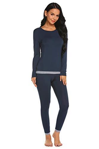 Skylin Women's Soft Cotton Waffle Thermal Underwear Long Johns Sets (Navy Blue, Large)