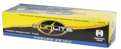 Sunlite Thorn Resistant Schrader Valve Tube, 700 x 20-25 (27 x 1'') / 32mm, Black by Sunlite
