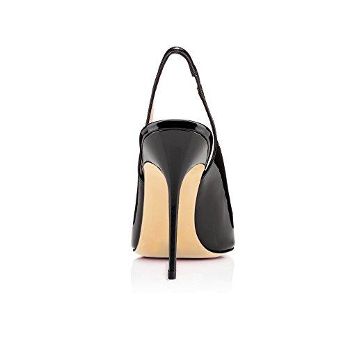 Toe Teräväkärkiset Naisten Eldof Toimisto 10cm Klassinen Mustat Liukastua Slingback Korkokengät Sandaalit Leikattu Tyyliin Pumput EFgwdwq