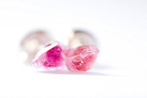Pink Tourmaline Earrings - Bohemian Earrings - Solid Sterling Silver Stud Posts (Moonstone Silver Brooch)