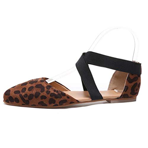 Todaies Women's Summer Sandals,Ladies Fashion Pointed Toe Flat Leopard Casual Sandals Single Shoes (40, Brown)