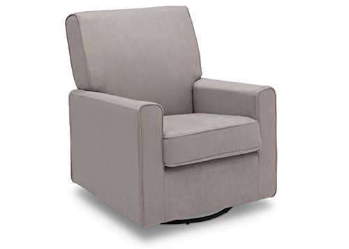 Delta Furniture Ava Upholstered Glider Swivel Rocker Chair, Dove Grey