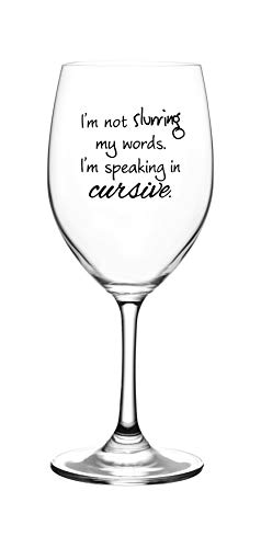 Breast Cancer Drinking Glass - I'm Not Slurring My Words. I'm Speaking in Cursive - Cute, Novelty, Etched Wine Glass by Lushy Wino - Large 16 Ounce Size with Funny, Etched Sayings - Gift Box
