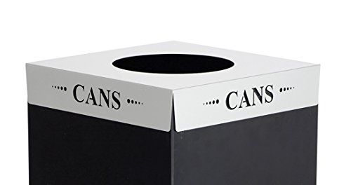 - Safco Products 2990CZ Square-Fecta Recycling Receptacle Lid, Cans (for use with Public Square Base sold separately), Silver