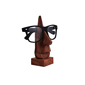 IndiaBigShop Wooden Handmade Classic Sheesham Nose-shaped Eyeglass Spectacle Holder Perfect for Home and Office Decor 6 Inch