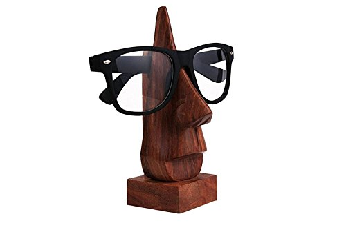 IndiaBigShop Wooden Handmade Classic Sheesham Nose-shaped Eyeglass Spectacle Holder Perfect for Home and Office Decor 6 Inch (& Home Gifts Accessories Unique)