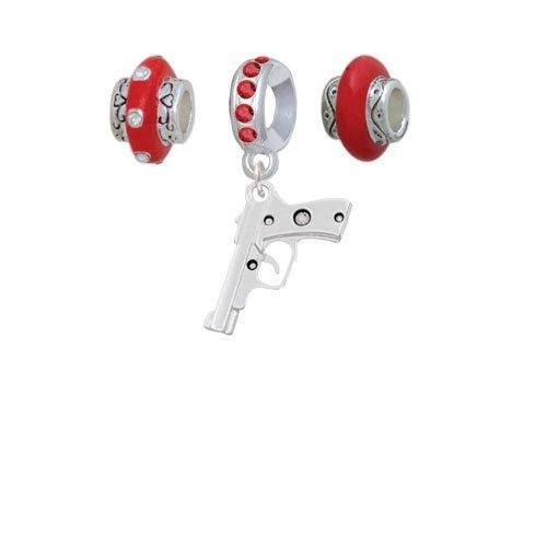 9mm Handgun Red Charm Beads Set of 3