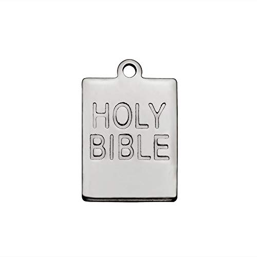 UNICRAFTABLE 50pcs Holy Bible Words Square Pendants Charm Stainless Steel Religious Charms Book Lord's Prayer Pendant for Key Chain Necklace DIY Jewelry Making 17x12x1mm Hole 1mm