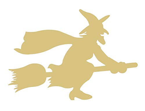 Witch Cutout Unfinished Wood Halloween Wicca Spooky Scary Broomstick MDF Shape Canvas Style 4 -