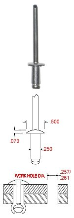 1/4'' DIAMETER ALUMINUM RIVET WITH STEEL MANDREL WITH A GRIP RANGE OF .751-1.000 (PACK OF 100) SHIPS PRIORITY MAIL - ARRIVES IN 2 TO 3 DAYS.