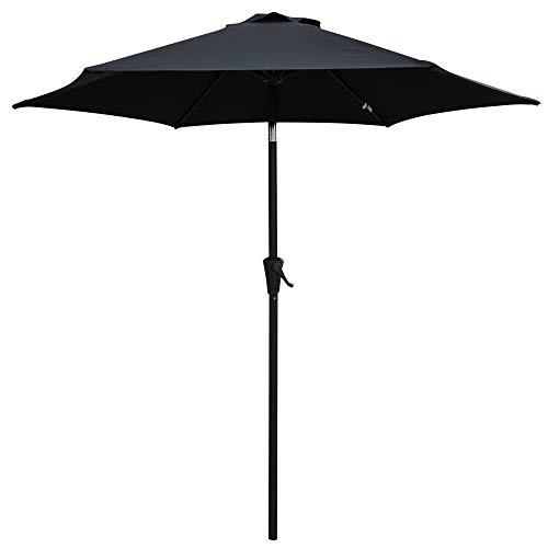 PATIOROMA 7.5 Feet Outdoor Patio Umbrella Push-Button Tilt Crank, 6 Ribs, Polyester Canopy, Black
