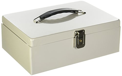 Buddy Products Metal Cash Box with Handle, 7.75 x 4 x 11 Inches, Platinum (0513-32)