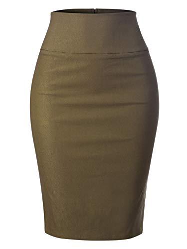 MixMatchy Women's Stretch Office Knee Length Midi Pencil Skirt Olive S