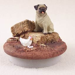 Conversation Concepts Miniature Pug Fawn Candle Topper Tiny One ''A Day on the Farm''