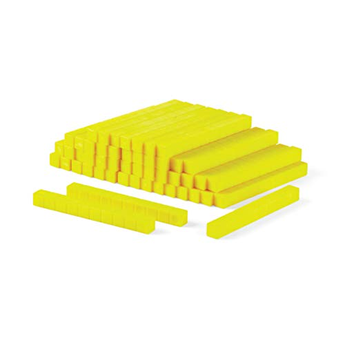 hand2mind Yellow Plastic Base Ten Blocks, Rods (Pack of 50)