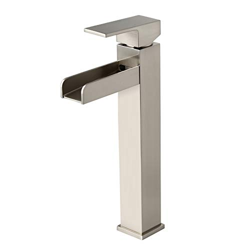 Homary Modern Brushed Nickel Waterfall Faucet for Vessel Sink Single Handle Single Hole Bathroom Vessel Sink Faucet, Spot Resist Solid Brass cUPC Certified with Pop Up Drain