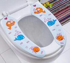 SeedWorld Toilet Seat Covers - Oneoney 1pc 2parts Toilet Gasket Washer Sticky Toilet Mat Synthwtic Hair Frbic Dog Whale Solid Pattern Can Be Cut Warm Winter 1 PCs